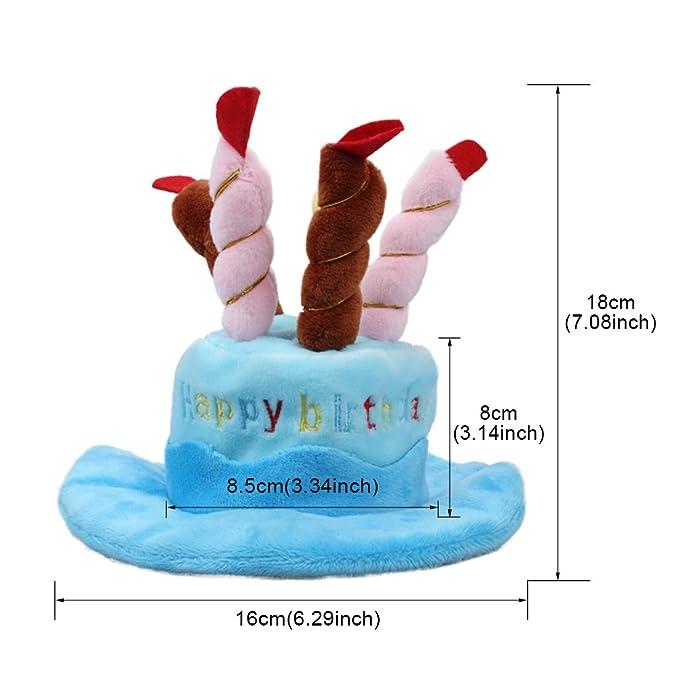 OWUDE Sombrero del cumpleaños del animal doméstico, Sombrero lindo del cumpleaños del perro diseño de la torta y de las velas para el accesorio del ...