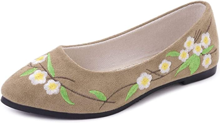 ZTWUTANG Women's Embroidered Flat Shoes