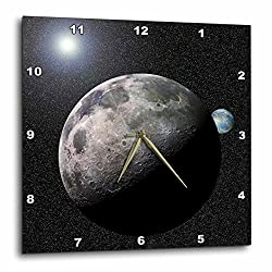 3dRose dpp_19949_2 Moon Dance Solar System Scene of Planet Earth and Moon Dancing in Space Orbit Wall Clock, 13 by 13-Inch
