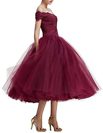 bab968d002a Kevins Bridal Elegant Lace Off Shoulder Ball Gown 2017 Tea Length Prom Dress  Burgundy Size 2