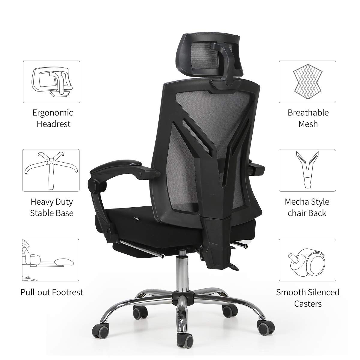 Hbada Ergonomic Office Recliner Chair - High-Back Desk Chair Racing Style with Lumbar Support - Height Adjustable Seat, Headrest- Breathable Mesh Back - Soft Foam Seat Cushion with Footrest, Black by Hbada (Image #9)