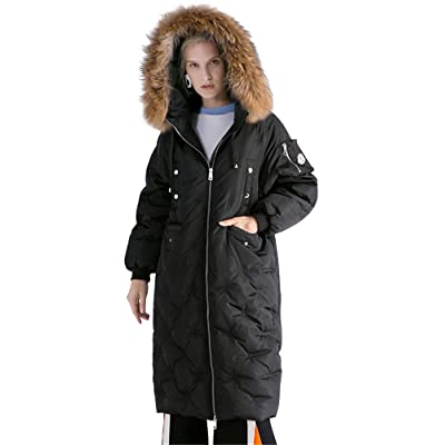 bd07391b2 ACE SHOCK Down Coat Women Long, Knee Length Thickened Winter Parka Jacket  With Faux Fur