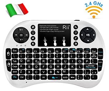 Rii Mini i8+ - Mini teclado inalámbrico (disposición de teclas italiana), retroiluminado,