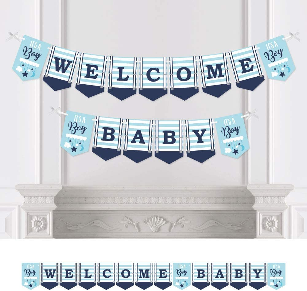 Blue Baby Shower Bunting Banner Big Dot of Happiness It/'s a Boy Welcome Baby Party Decorations