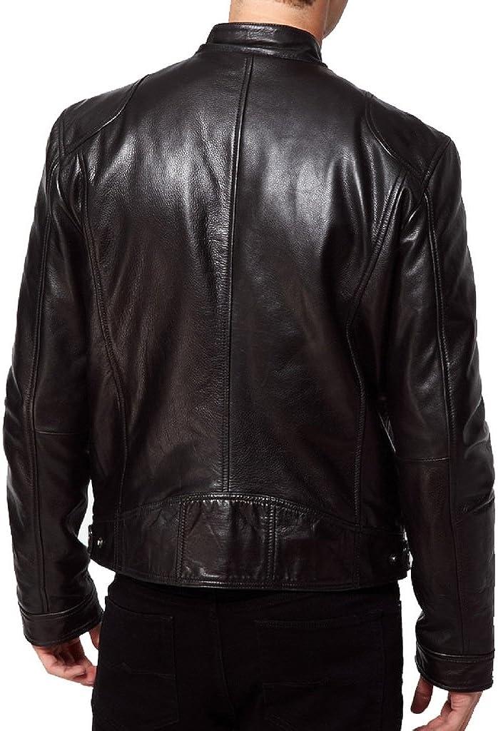 New Mens Biker Lambskin Leather Jacket LT201