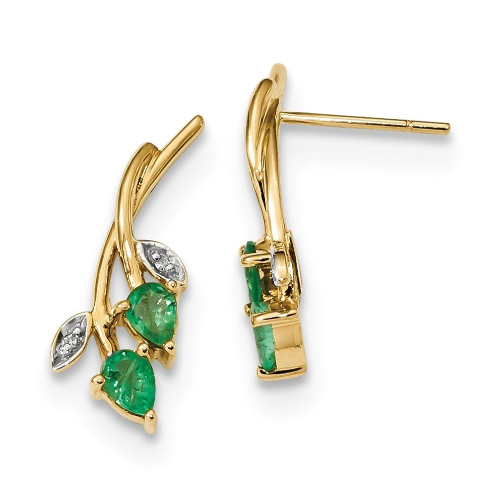 7.31mm 14k Gold With Diamond and Emerald Post Earrings