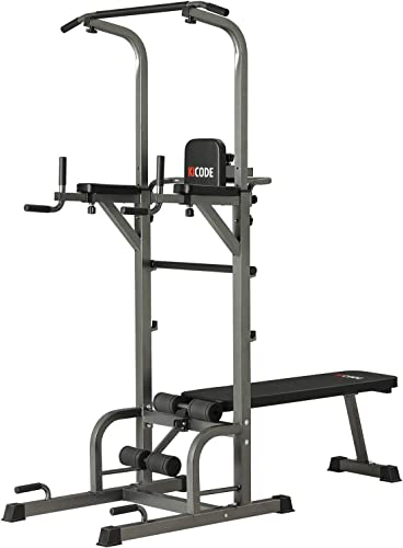 Kicode Power Tower with Bench Exercise Equipment, Pull Up Bar Dip Station, Height Adjustable Pull Up Tower for Home Gym Strength Training, Support Up to 400LBS