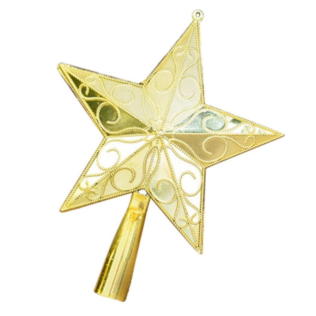 Ornaments, Hatop Christmas Tree Top Sparkle Stars Hang Xmas Decoration Ornament Treetop (S)