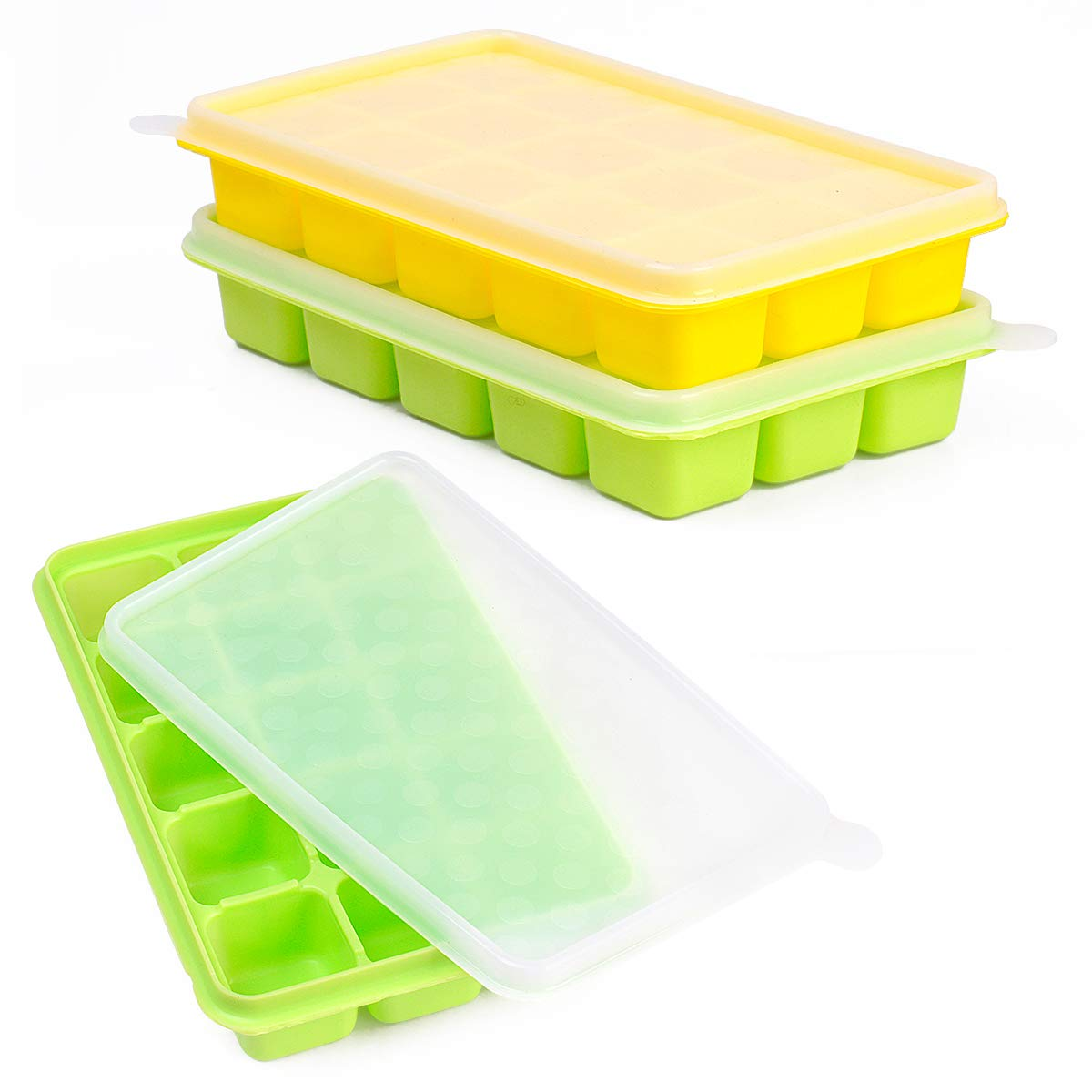 Ice Cube Trays CASELAND Easy Release 2 Pack Silicone 15 Ice Trays with Spill-Resistant Removable Lid Stackable Durable and Dishwasher Safe FDA Certified & BPA Free