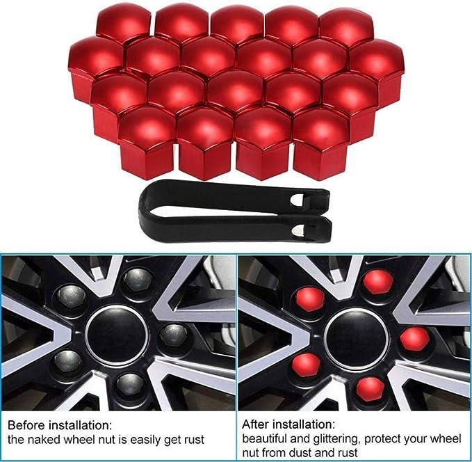 Toygogo 20 St/ücke Universal Radschrauben Radmuttern Radschraubenkappen 17 mm mit Abziehhaken Set f/ür Auto Blau