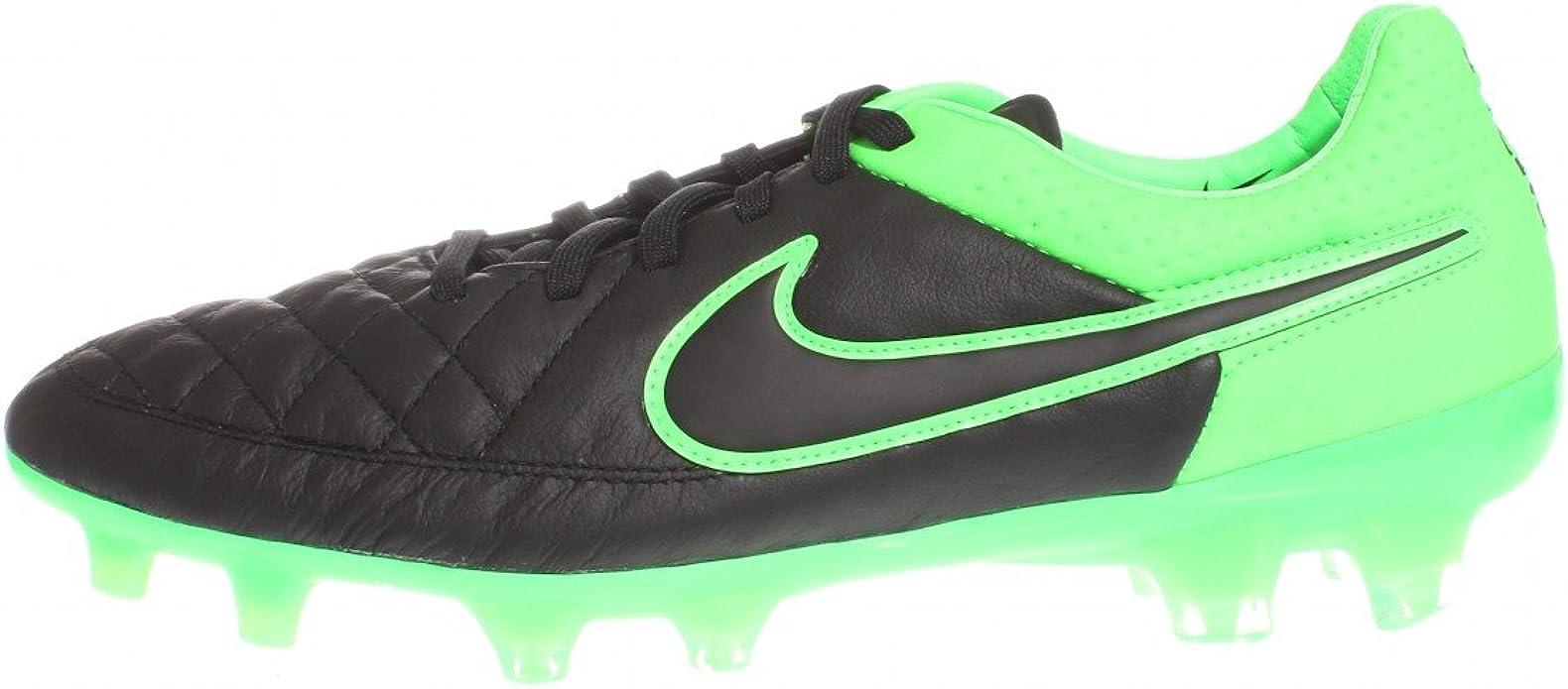 Nike - Botas de fútbol de Piel para Hombre Negro Black/Black-Green Strike-Green Strike 45,5: Amazon.es: Zapatos y complementos