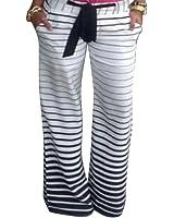 Moollyfox Femmes Rayé Noir Et Blanc Pantalon Décontracté Jambe Large Taille Haute Jogging Sarouel Fluide Imprimé