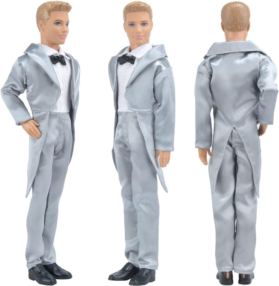 DollsBambola e Scarpe Non Incluse E-TING Groom Wedding Smoking Formali Business Gentleman Abiti Gilet per Ken Doll Smoking Nero