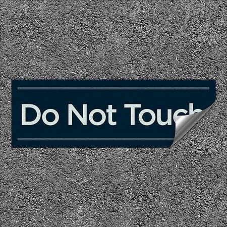 CGSignLab |''Do Not Touch -Basic Navy'' Heavy-Duty Industrial Self-Adhesive Aluminum Wall Decal (5-Pack) | 36''x12''