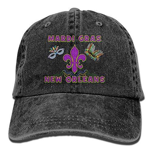 Mardi Gras New Orleans Denim Hat Adjustable Women's Plain Baseball Hat ()