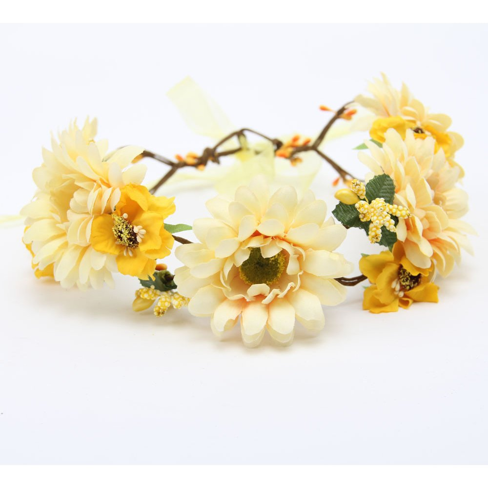 Love Sweety Flower Wreath Headband Floral Crown for Wedding Festivals HH12 (Yellow)