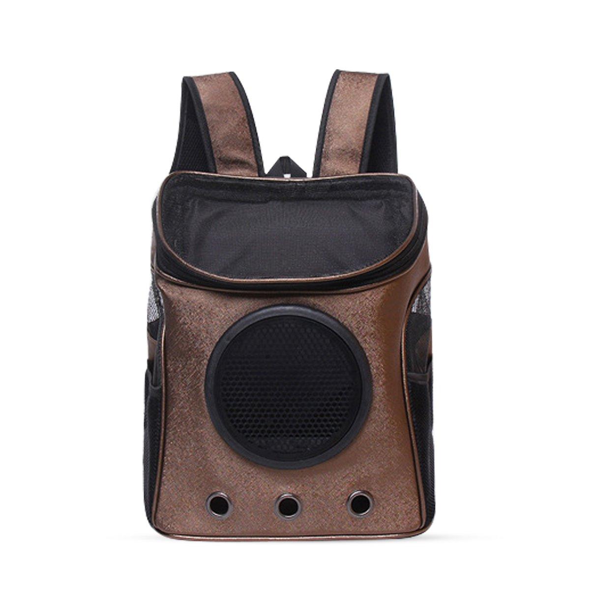 PETCUTE Sac à dos de voyage léger pour chat Mesh respirant Windows et sac à dos pour animaux de compagnie extérieur transparent pour petits chiens et chats moyens marron