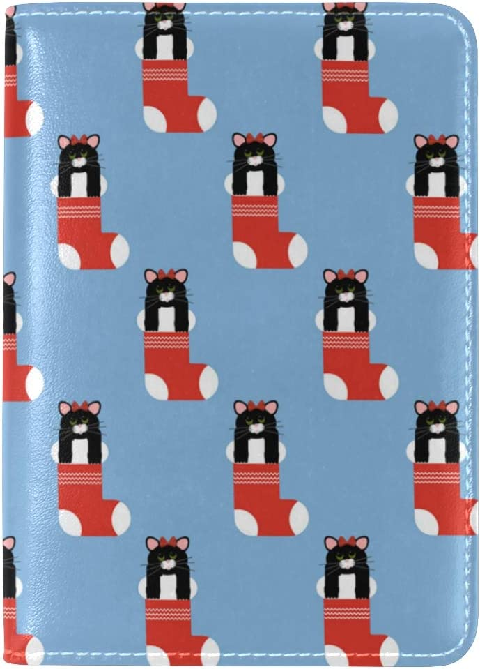 Cat Hiding Christmas Sock Leather Passport Wallet for Passport Holder for Safe Trip durable Easy to Carry