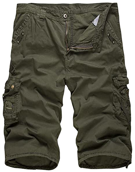 7c2f07621e Big Tang Mens Casual Slim Fit Cotton Solid Multi-Pocket Cargo Shorts Pants  Army Green