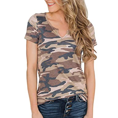 849d6e2e453bad Amazon.com  Women Casual Cold Shoulder Knot Design Camouflage Tops T ...