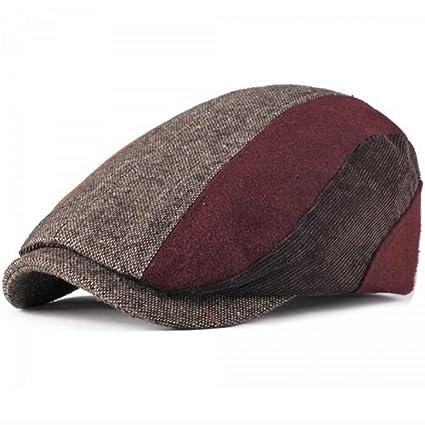 291d3549988 Image Unavailable. Image not available for. Color  HOMZE 2018 New Berets  Autumn Winter Hats Men Women Beret Cap Patchwork ...