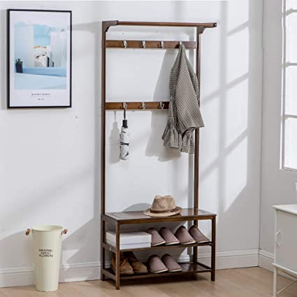 Amazon.com: YYHSND Brown Minimalist Hall Shoe Rack Hanger ...