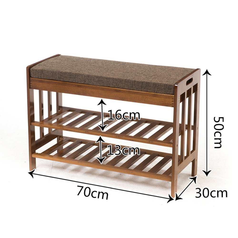 YNN 靴の棚シートクッションと竹の靴のベンチ寝室の廊下のエントリーウェイブラウンのための2層ストレージベンチ (サイズ さいず : 80センチメートル) B07DWQMPCZ 80センチメートル 80センチメートル
