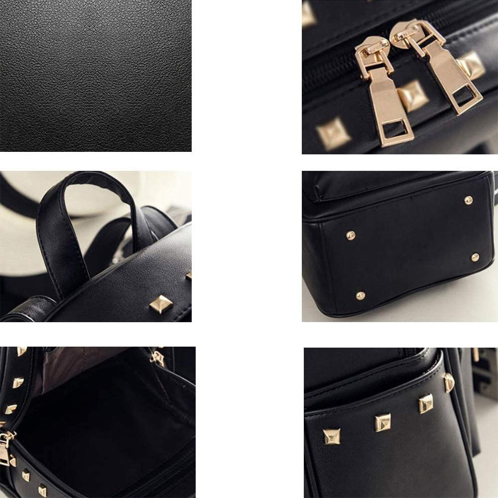 Multipurpose Daypacks Backpack Leather Ladies Bag Rivet Casual Backpack College Wind Student Bag Outdoor Travel Bag 26/×13/×32CM