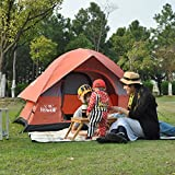 Hewolf 3-4 Persons Family Camping Tent 6.5′ x 6.5′ x 4.5′ with 8.5mm Fiberglass Pole Red For Sale