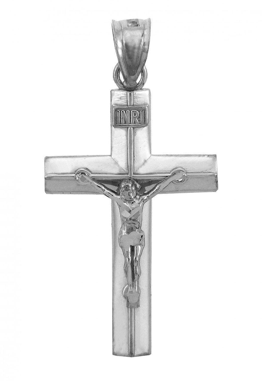 Solid 14k White Gold Linear Cross Charm INRI Crucifix Pendant