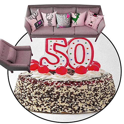 - Dining Table Rugs 50th Birthday,Creamy Cake with Cherries Burning Candles Chocolaty Yummy Delicious Desert,Multicolor Diameter 78