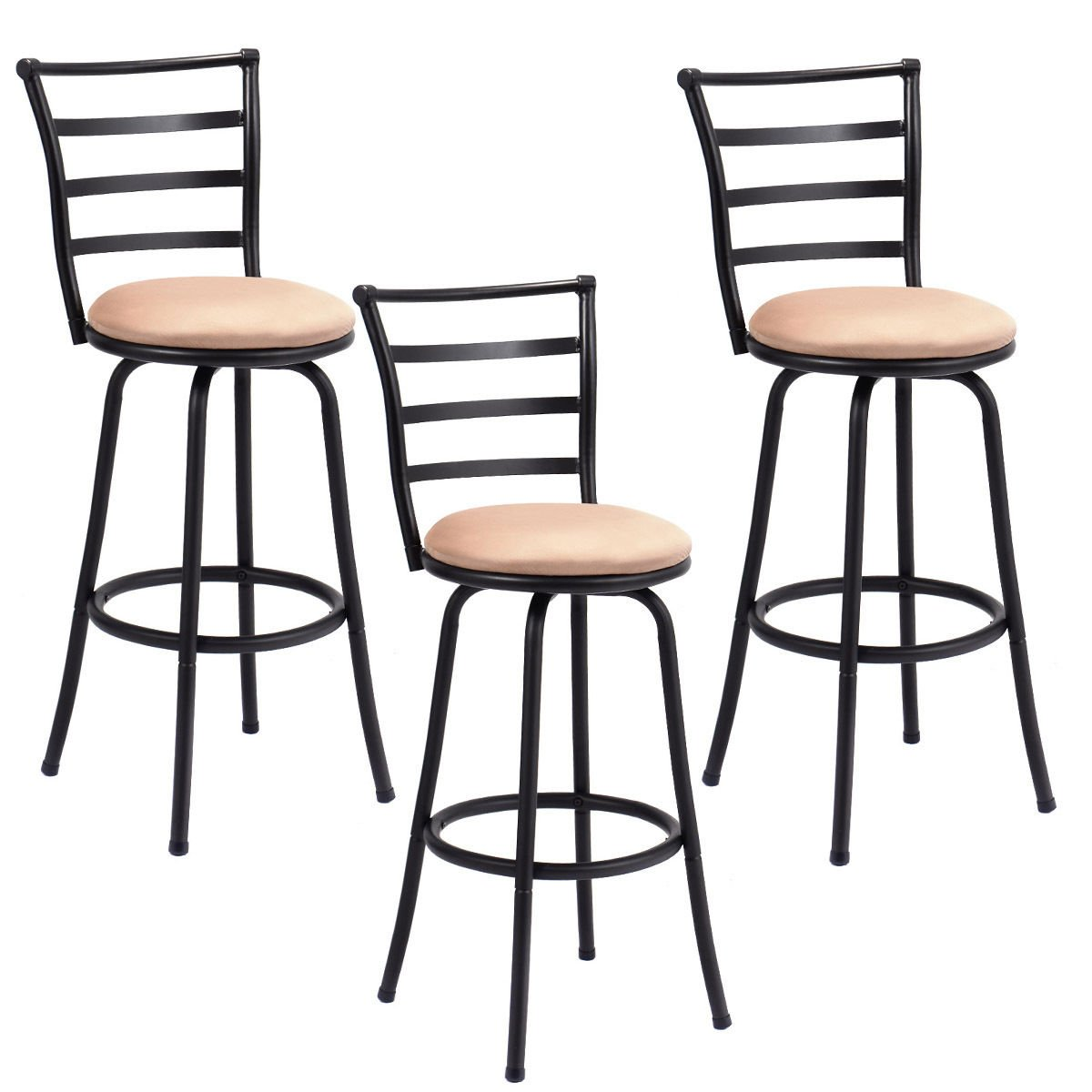 Costway Swivel Counter Height Bar Stool Steel Frame Modern Barstool Bistro Pub Chair (3Bar Stool)