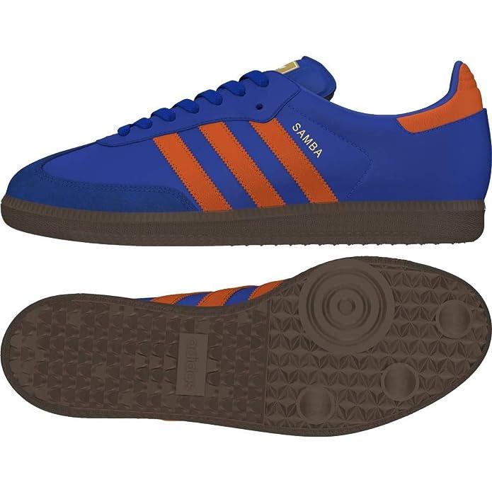 adidas Samba oG Schuhe Herren blau mit orangen Streifen