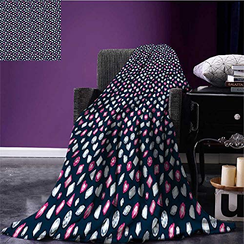 sunsunshine Diamonds Digital Printing Blanket Round Marquise Square and Heart Shaped Crystals with Ruby Arrangement Plush Throw Blanket Dark Blue Pink Pearl Bed or Couch 90