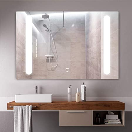 NeuType Bathroom LED Backlit Mirror Vanity Sink Mirror with Anti-Fog Function – Horizontally and Vertically Wall-Mounted, Perfect for Home Use or Hotel Supplies Mirror 36 x 24