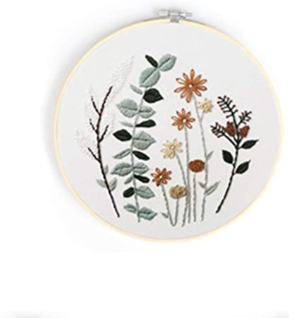 Flowers Embroidery Full Kit with Needlepoint Hoop Modern Embroidery Kit with Pattern DIY Craft Kit Plants Embroidery Kit For Beginner
