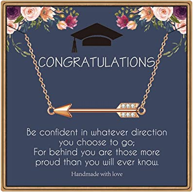 IEFLIFE Graduation Gifts for Her, Arrow Necklace Senior 2021 Gifts Sideways Arrow Necklace College High School Graduation Gifts for Her Inspirational Graduation Gifts Necklace with Message Card