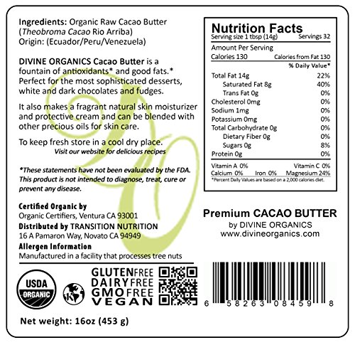 Divine Organics Raw Cacao Cocoa Butter - Certified Organic - Food Grade - Edible 16oz by Divine Organics (Image #2)