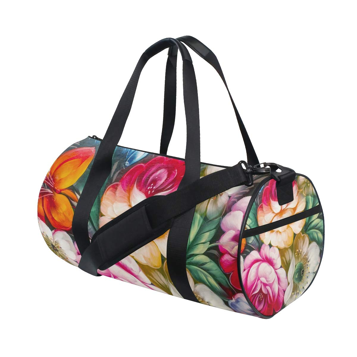 Flowers Yoga Sports Gym Duffle Bags Tote Sling Travel Bag Patterned Canvas with Pocket and Zipper For Men Women Bag