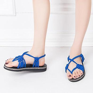 a64b95d5a1054 Solike Sandale Femme Été Sandale Plate Femmes Chaussure de Loisir Sandales  Ouverte Clip Bout Casual Lacets Sandales Tongs Pantoufles de Ete Flip Flops  de ...