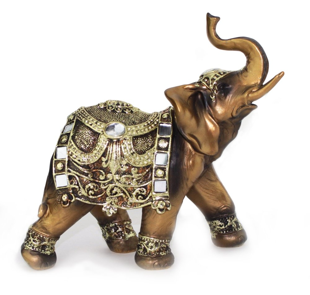 "Feng Shui 7""(H) Brass Color Elegant Elephant Trunk Statue Wealth Lucky Figurine Home Decor Gift (G16550) ~ We Pay Your"