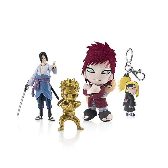 Naruto Shippuden Exclusive Omakase Blue Box featuring Naruto Mininja Gold Figurine, Sasuke Figure, Gaara Plush, Allied Shinobi Forces Haedband ...