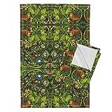 Roostery Jungle Tea Towels Rainforest Mirror Version by Vinpauld Set of 2 Linen Cotton Tea Towels