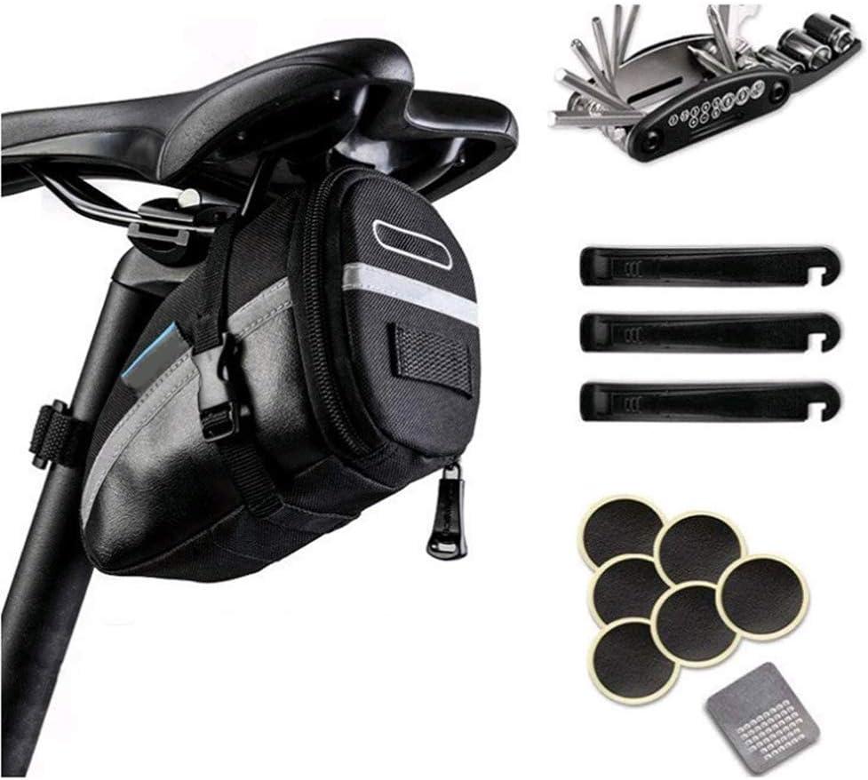 Juego de herramientas de reparación de bicicleta 16 en 1 con bolsa para sillín de bicicleta con kit de reparación, bolsa de herramientas portátil con tiras reflectantes, Negro