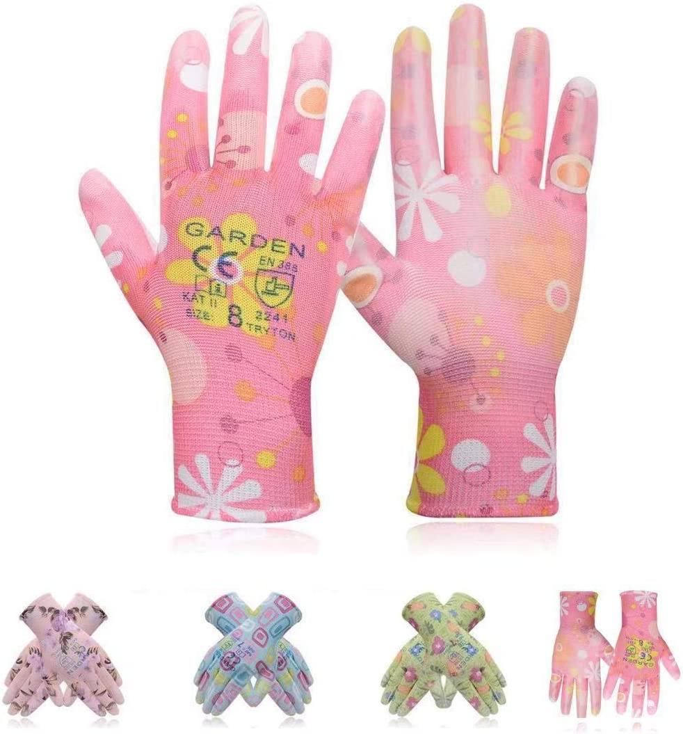 Floral Women Garden Glove Comfortable Soft Polyester Coated PU Nylon Shell Light Weight Mix Colour Randomly 5 Pack Gloves, Ultra-Lightweight, Breathable Gloves, Fits Most Size Garden Gloves