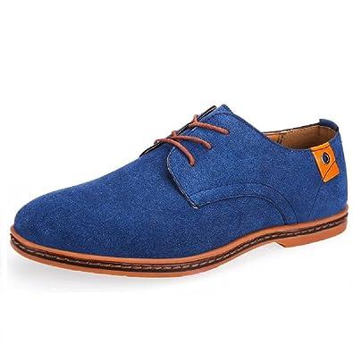 DADAWEN Herren Oxfords Schnürhalbschuhe Business Stil Leder Schuhe-Gelb 46 OMr4XRvO4k