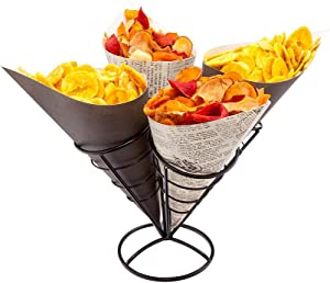 3.5 Inch x 6.75 Inch Food Cone Display, 1 Holds 4 Cones Cone Holder Stand - Spiral, Scratch Resistant, Black Iron Ice Cream Cone Holder, For Snacks, Appetizers, Or Desserts - Restaurantware