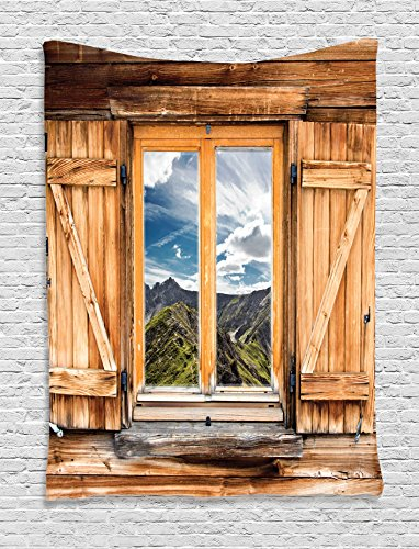 Ambesonne Mountain Tapestry, Mountain and Sky View Wooden Shuttered Window Room on Top of The Hills Nature Look, Wall Hanging for Bedroom Living Room Dorm, 40 W X 60 L Inches, Rustic Brown (Hill Outdoor Hanging Wall)