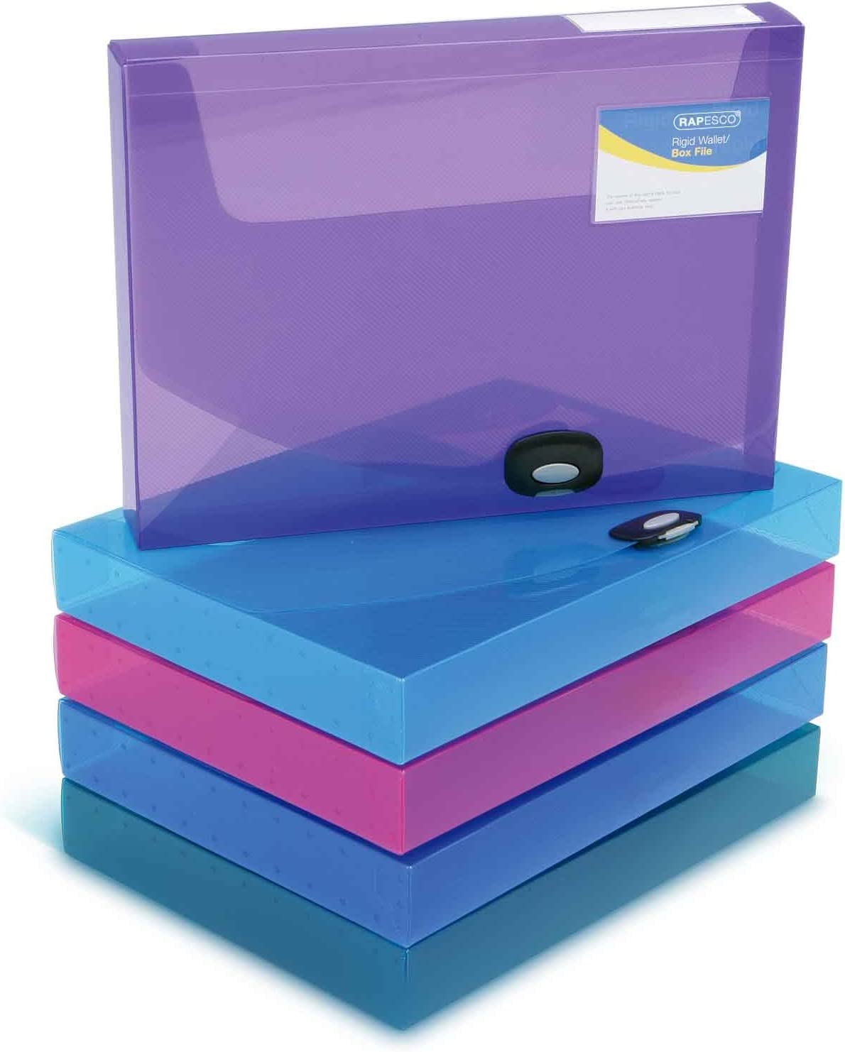 Rapesco Documentos - Caja de archivo A4, 40mm de ancho, varios colores transparente