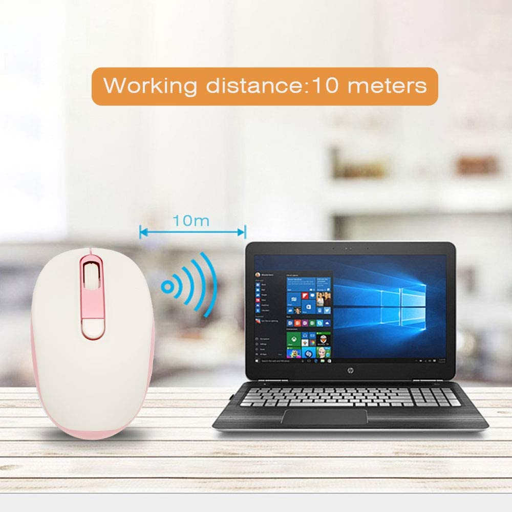 Wireless Mouse,2.4G Optical Noiseless Mouse with USB Nano Receiver,3 Adjustable DPI Levels 1000//1200//1600 DPI Pink